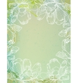 flowers over green watercolor brushstrokes vector image