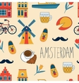 Colorful Amsterdam icons seamless pattern vector image vector image