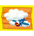 Frame design with airplane flying vector image vector image