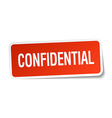 confidential red square sticker isolated on white vector image