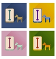 Concept of flat icons with long shadow mobile pet vector image