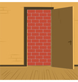 brick wall open door vector image