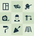 building icons set collection of truck spatula vector image