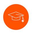 graduated school cap round line icon vector image