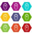 newborn icon set color hexahedron vector image
