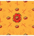 Red poppy flower seamless pattern vector image