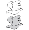 set Pigeon Black outline and painted vector image