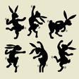 Dancing rabbit silhouette vector image vector image