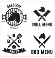 BBQ graphic flat emblems with grill forks spatulas vector image