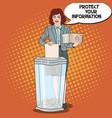 pop art business woman shredding paper documents vector image