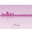 Perth skyline in purple radiant orchid vector image