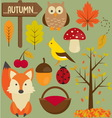 0019 Set of autumn vector image vector image
