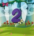 Number two with 2 butterflies in garden vector image