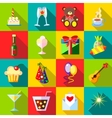 Happy Birthday icons set flat style vector image