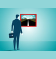 businessman looking for a new road concept vector image