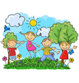 Cartoon little kids jumping and dancing together vector image