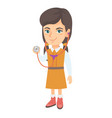 caucasian girl in doctor coat holding stethoscope vector image