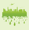 plane above the city on a green vector image