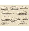 Retro clouds hand drawn sketch vector image