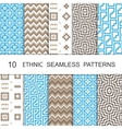Seamless Ethnic Pattern Set Ten Tribal Tiled vector image