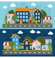 Set of urban landscape and city life vector image