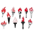 Vintage torches with burning flames vector image