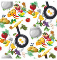 Seamless pattern with vegetables hand drawn vector image