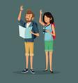 cartoon traveler couple happy with backpacks vector image