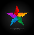 Rainbow Origami Star on black background vector image