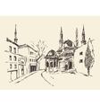 Istanbul Turkey harbor vintage engraved sketch vector image