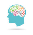 brain with gears working inside logo vector image