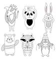Funny animals cartoon children Cute fox bear vector image