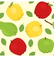 Seamless pattern with cartoon apples and pear vector image