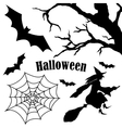 Set of halloween silhouette on white background vector image