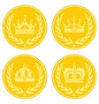 Yellow coin icons with crown on white background vector image