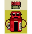 Party vintage poster with retro robot vector image