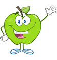Smiling Green Apple Character Waving For Greeting vector image vector image