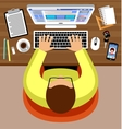 Flat design of office workspace vector image vector image