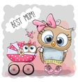 Greeting card Best mom with baby carriage vector image
