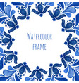 blue traditional floral frame in russian gzhel vector image
