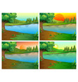 four scenes of river and forest vector image