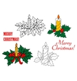 Glowing candles on Christmas leaves vector image