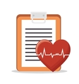 heart pulse clipboard health vector image