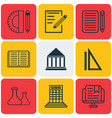 set of 9 school icons includes opened book vector image