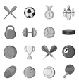 Sport equipment icons set black monochrome style vector image