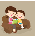 mother and son reading together vector image