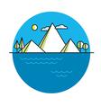 Line island in color vector image