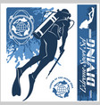 diving club and labels set vector image