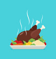flat baked chicken turkey vector image