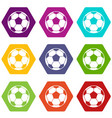 football soccer ball icon set color hexahedron vector image